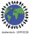 children holding hands around the world - stock