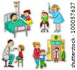 children in different situations related to health and medicine (vector available in my portfolio) - stock vector