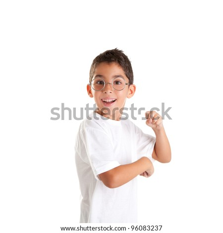 children nerd kid boy with glasses and happy expression isolated on white