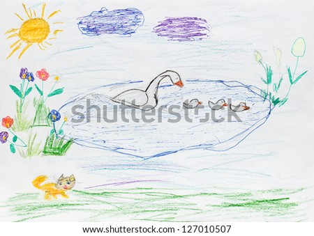 children painting - goose family