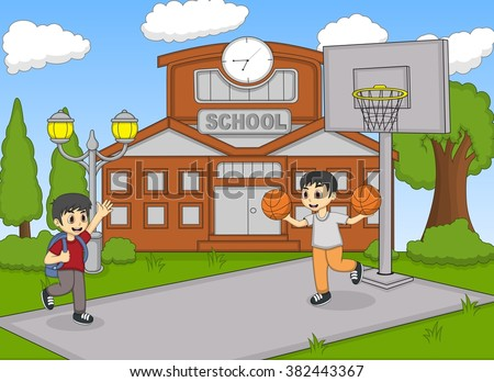 Children playing basketball at the school image illustration