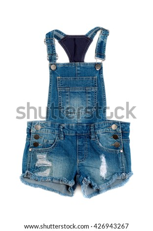 Children's denim shorts with suspenders. Isolate on white.