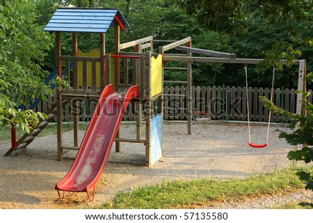 Children's playground in nature, at morning