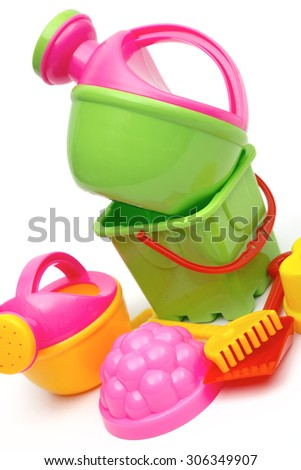 children's toys on the white background