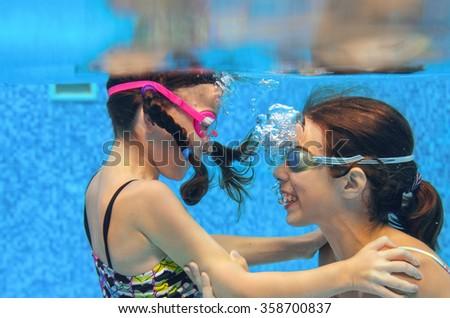 Happy Kid Swimming Underwater Pool Active Stock Photo