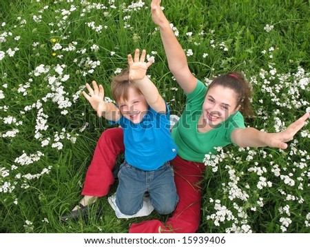 Children the lifted hands upwards