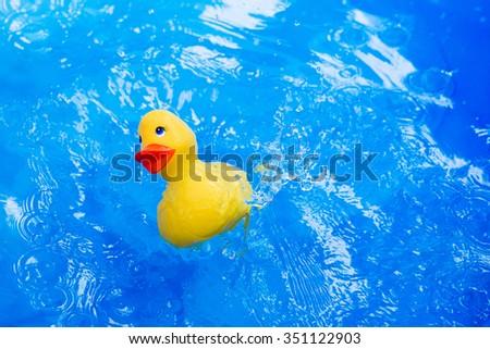 Rubber Duck Bath Bathroom Splashing Water Stock Photo ...