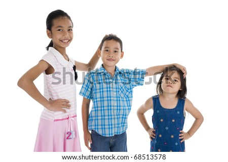 children with different sizes, isolated on white background