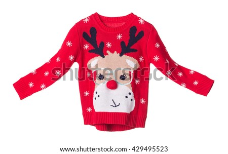 Childrens knitted jimper. Isolated on the white background.