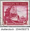 CHILE - CIRCA 1938: A stamp printed in Chile shows Conte de Biancamano (freighter) and Ponderoso, circa 1938 - stock photo