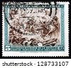 CHILE - CIRCA 1965: a stamp printed in the Chile shows Battle of Rancagua, Chilean War of Independence, 150th Anniversary, circa 1965 - stock photo