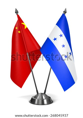China and Honduras - Miniature Flags Isolated on White Background.