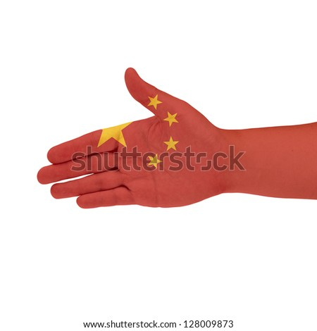 China flag on hand isolate on white background