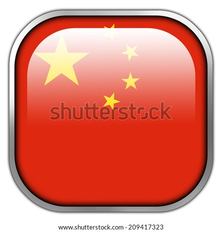 China Flag square glossy button