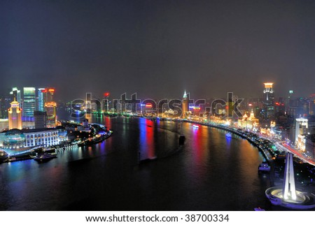 China Shanghai Huangpu river and Bund aerial night view.