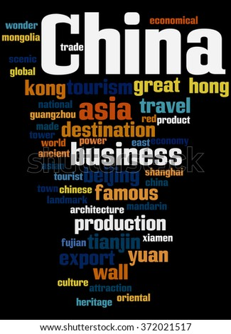 China, word cloud concept on black background.