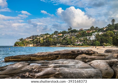 Chinamans Beach - overlooking a calm and sheltered beach strip in north Sydney.