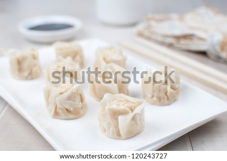 Chinese crab meat dumplings with soy sauce