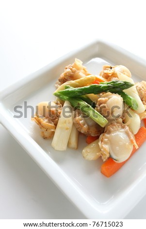Chinese cuisine, asparagus and scallop stir fried