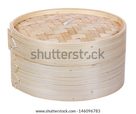Chinese dimsum bamboo steamer isolated on white background
