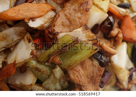 Chinese food. Hot pork with vegetables. Closeup.