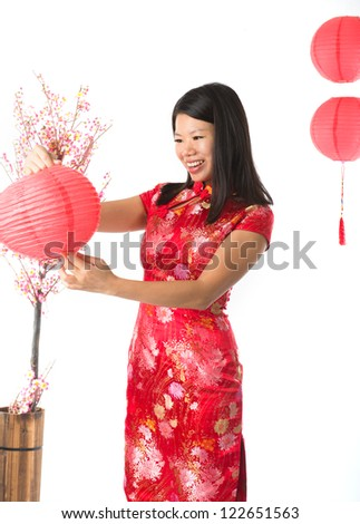 chinese girl preparing for chinese new year