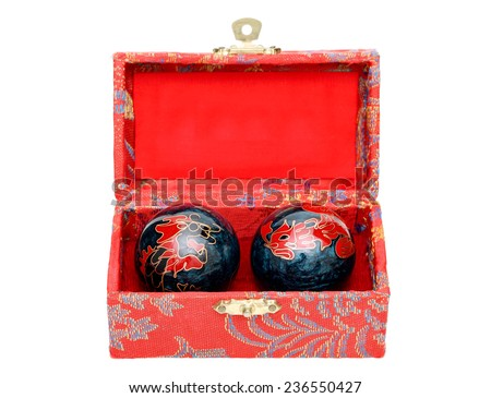 chinese hand massage balls in a decoration box