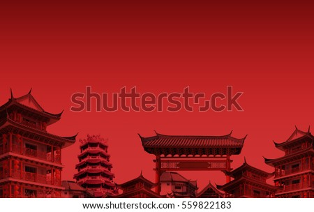 chinese new year background compose by the rooftop of chinese temple in thailand