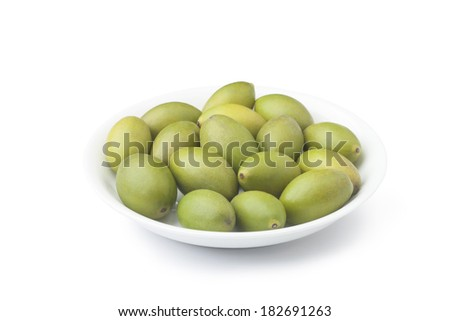 Chinese olives in the plate