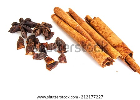 Chinese star anise and cinnamon