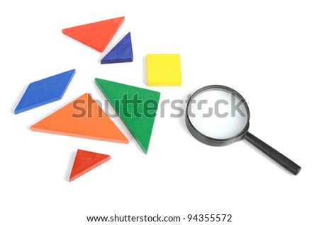 Chinese tangram and magnifier