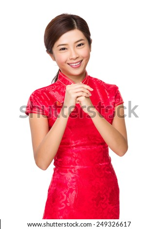Chinese woman with congratulation sign