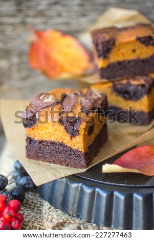 chocolate brownies with pumpkin. American kitchen