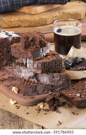 Chocolate cake with prune and walnuts
