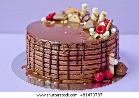 Chocolate cake with raspberries and candies