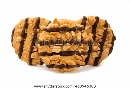 chocolate chip cookies with peanuts, isolated on white