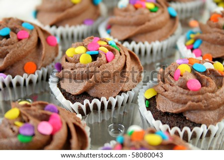 Chocolate cupcakes with colorful sprinkles.  Used a shallow DOF with selective focus.