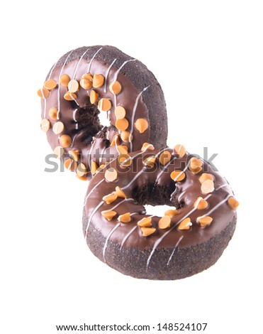 chocolate donuts on white background