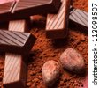 chocolate with cocoa beans - stock photo