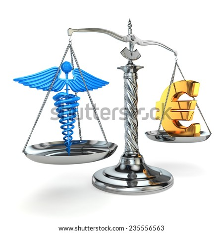 Choice health or money. Caduceus and euro signs on scales. 3d
