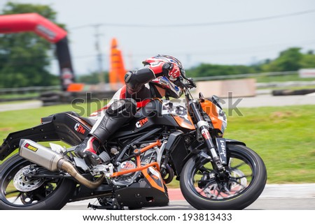 CHONBURI - MAY 10,2014 : Unidentified racers KTM Duke 200 in Super Moto 2014 on May 10 at Bira International Circuit, Chonburi, Thailand