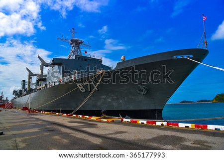 Chonburi, Thailand - January 17, 2016: USS FAST, FF combat vehicles were presented to the Thailand and attractions. Visit the Sattahip Naval Base Chonburi Province
