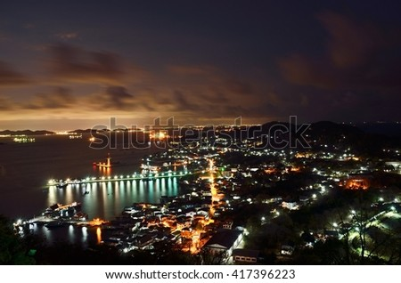 Chonburi,Thailand. MAY 6 :2016. Top View Night time at  Koh Sichang, Chonburi, Thailand.