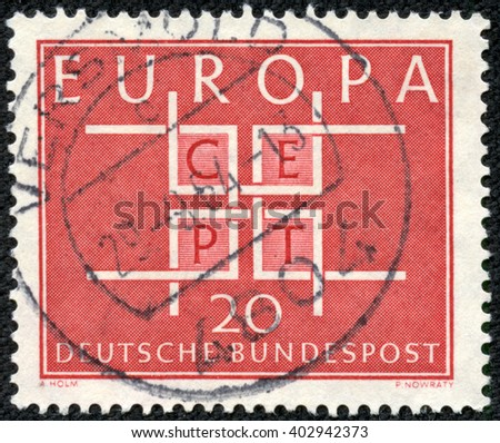 CHONGQING, CHINA - April 17, 2014:stamp printed by Germany, shows Europe CEPT emblem, circa 1968