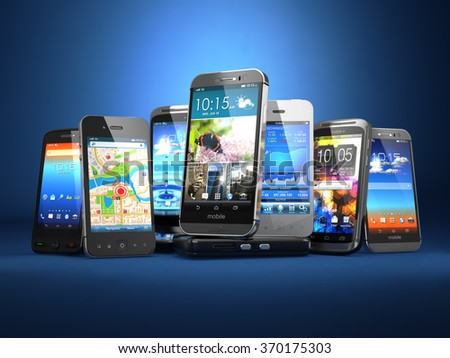 Mobile Phones Background Pile Different Modern Stock ...