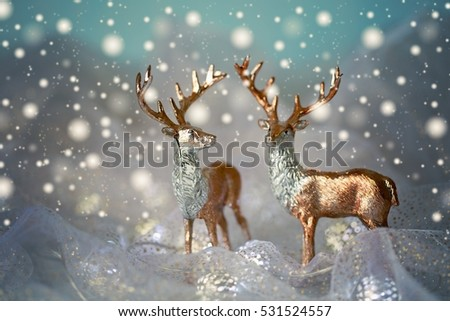 Christmas and New Year decoration.Christmas concept.Two beautiful golden deer.