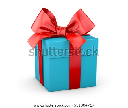 Christmas And New Years Day Red Blue Sky Gift Box White Background 3d Rendering