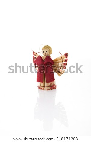 Christmas angel over white background