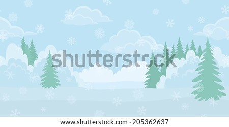 Christmas background landscape, winter white forest with snow and blue sky with clouds.