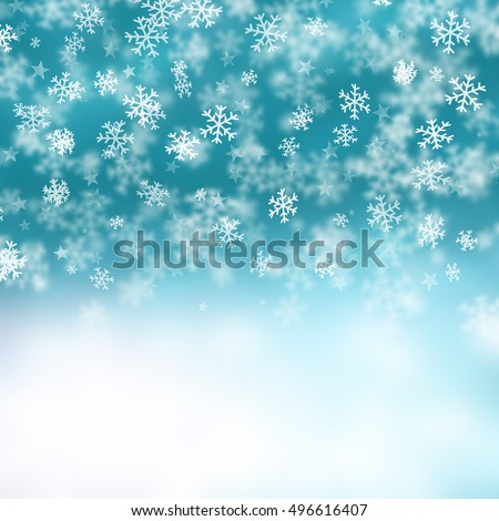 Christmas background of snowflakes and stars